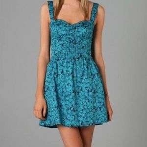 Free People Teal Blue Poppy Petals Dress Size 0